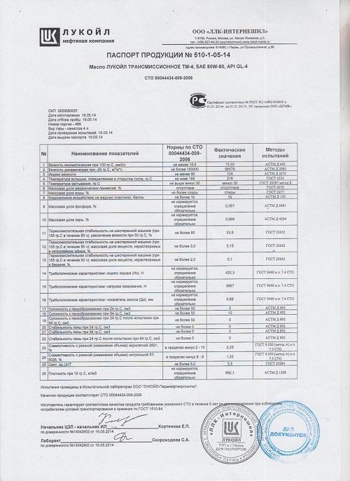 Паспорт продукции на масло Лукойл