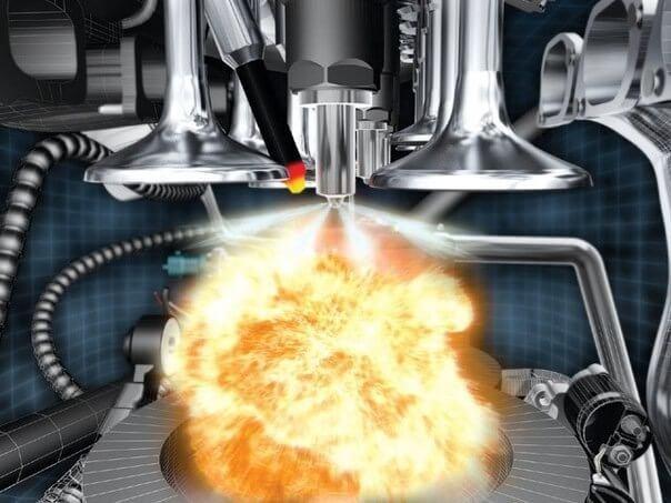 Так горит топливо при нормальной работе форсунки