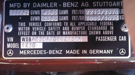 Табличка с ВИН-кодом на автомобиле
