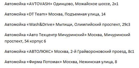 Адреса моек самообслуживания Москвы