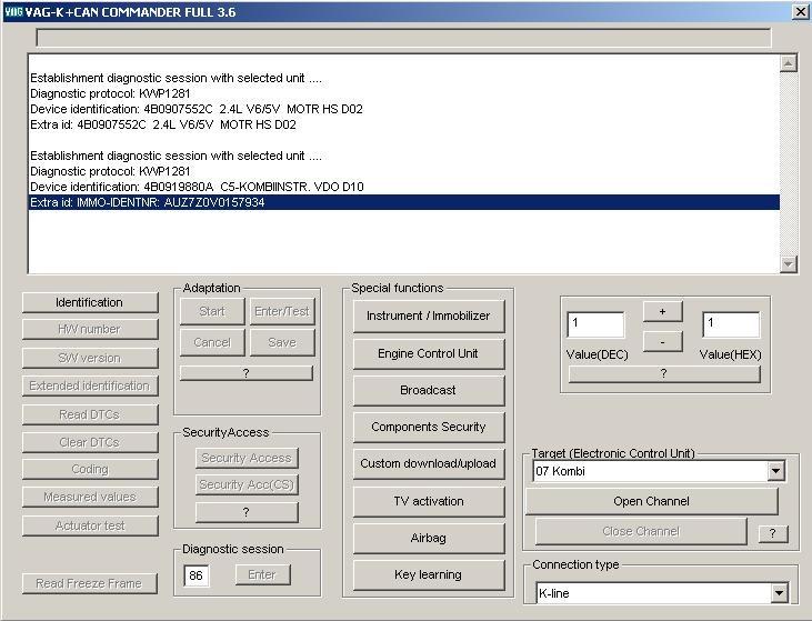 Интерфейс программатора, с помощью которого прописывают ключ в иммобилайзере