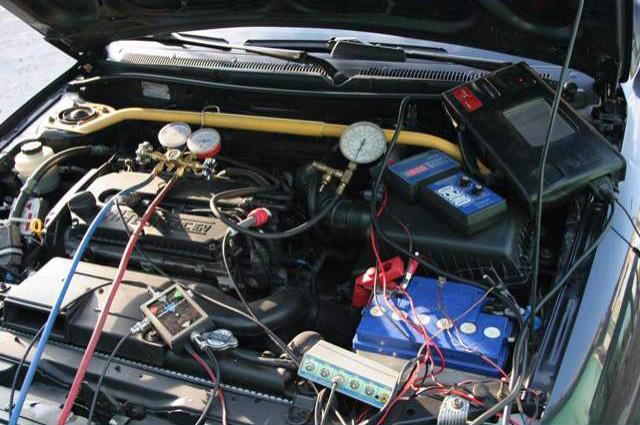 Подключение приборов для диагностики инжектора и мотора