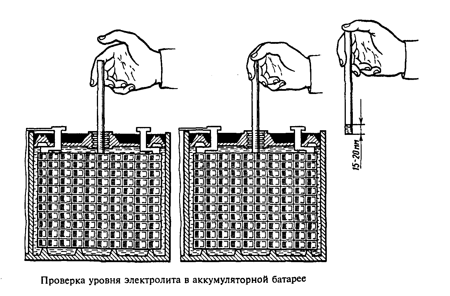 Проверка уровня электролита в аккумуляторе