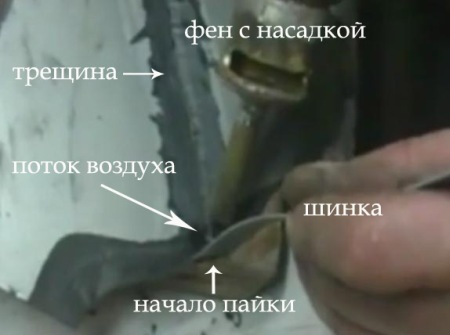 Ремонт трещины бампера