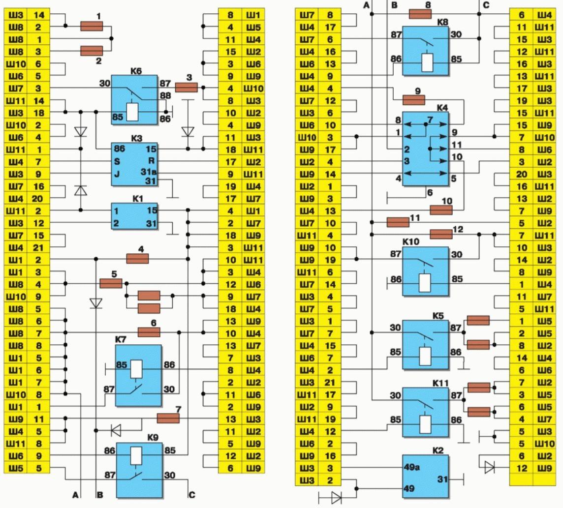 Схема монтажного блока старого образца