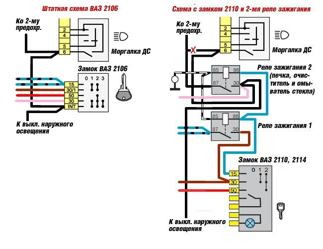 Схема подключение замка зажигания ваз